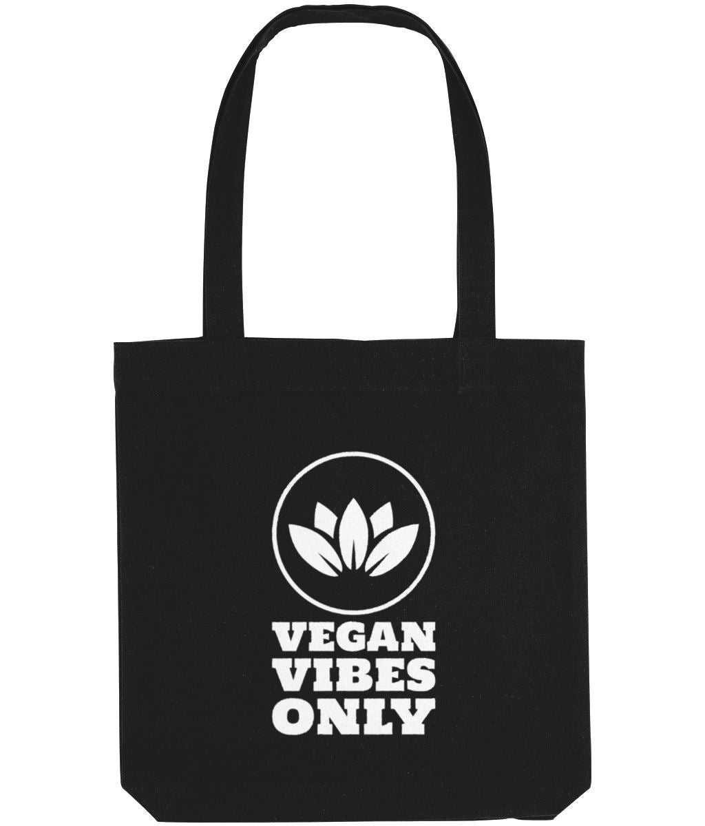 """Vegan Vibes Only"" Cruelty-Free Tote Bag Clothing Vegan Original Black"