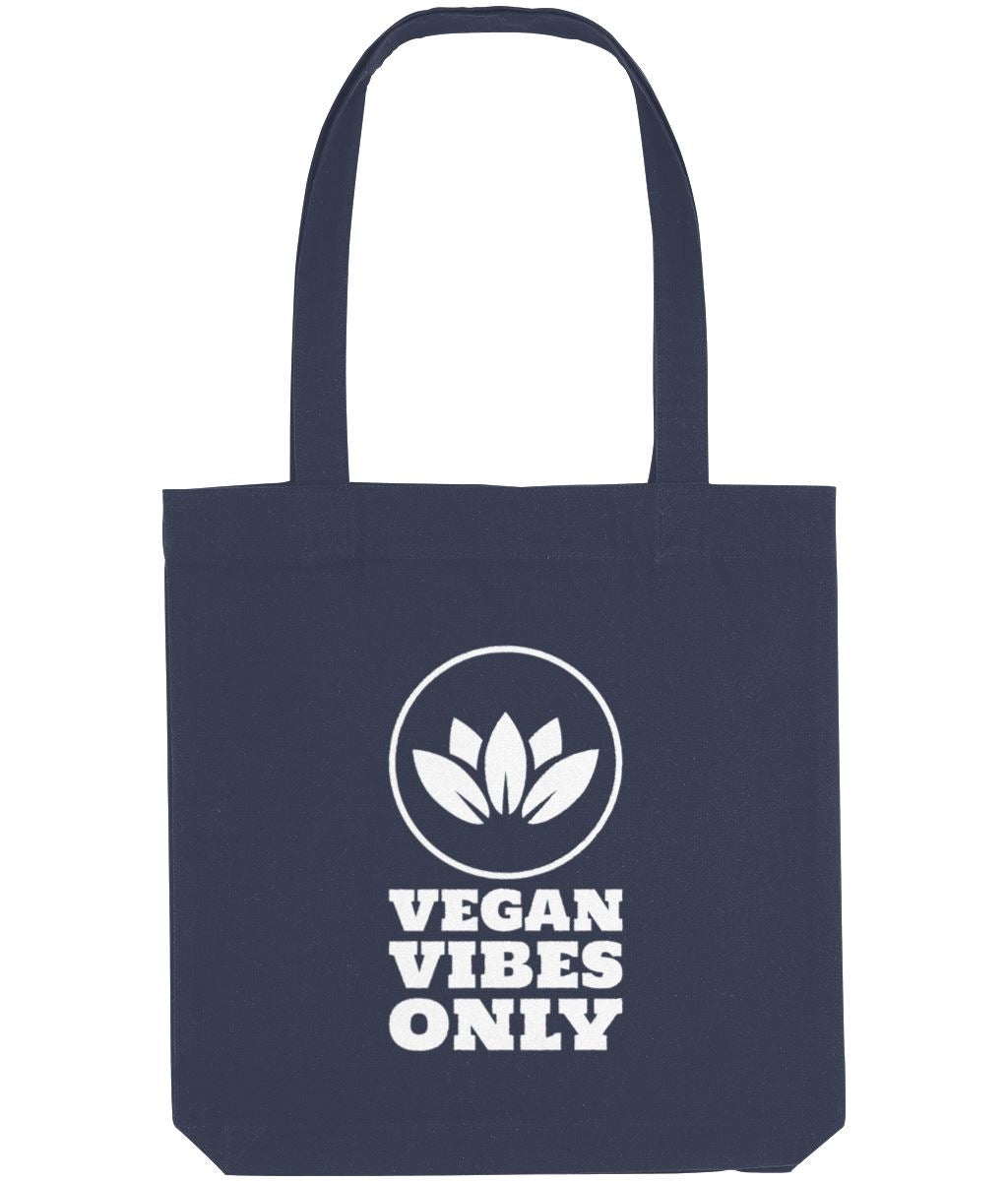 """Vegan Vibes Only"" Cruelty-Free Tote Bag Clothing Vegan Original Midnight Blue"