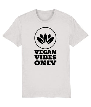"""Vegan Vibes Only"" Vegan T-Shirt - 100% Organic Cotton (Unisex) Clothing Vegan Original Cream Heather Grey XX-Small"