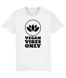 """Vegan Vibes Only"" Vegan T-Shirt - 100% Organic Cotton (Unisex) Clothing Vegan Original White XX-Small"