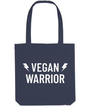 """Vegan Warrior"" Tote Bag Clothing Vegan Original Midnight Blue"