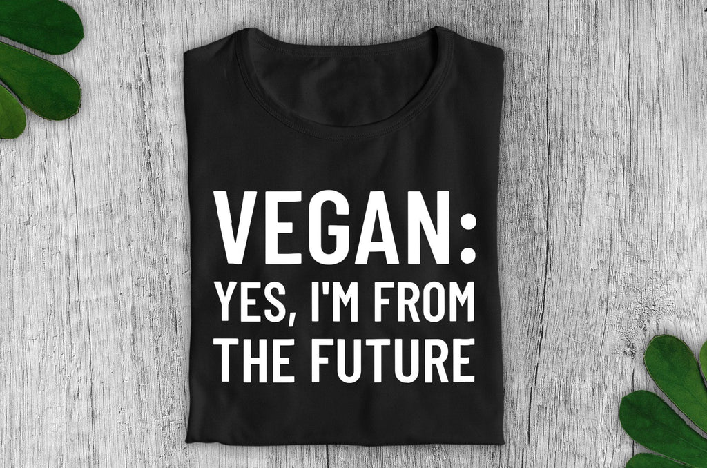 """Vegan: Yes, I'm From the Future"" Ethical T-Shirt - Dark Colours (Unisex) Clothing Vegan Original"