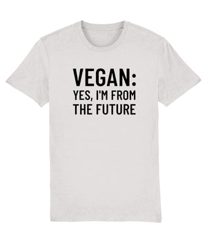 """Vegan: Yes, I'm From the Future"" - T-Shirt - 100% Organic Cotton (Unisex) Clothing Vegan Original Cream Heather Grey XX-Small"