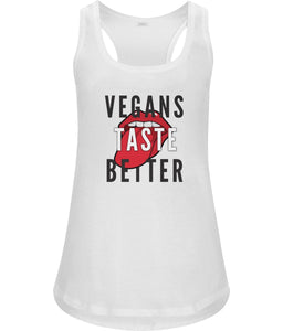 """Vegans Taste Better"" Women's Racerback Vest Clothing Vegan Original Small White"