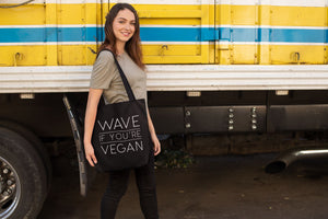 """Wave If You're Vegan"" Ethical Tote Bag Clothing Vegan Original"