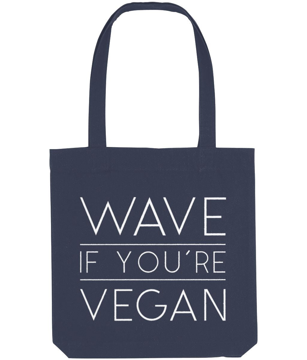 """Wave If You're Vegan"" Ethical Tote Bag Clothing Vegan Original Midnight Blue"