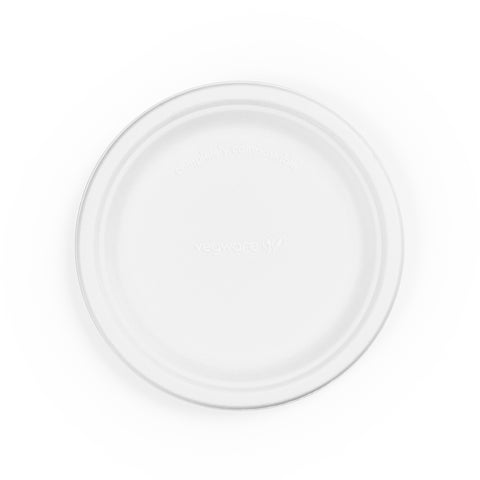 7in bagasse plate - white