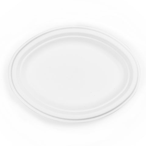 10in bagasse oval plate - white