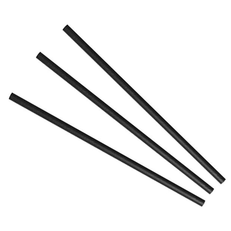 Highball black paper straws 6 x 200mm