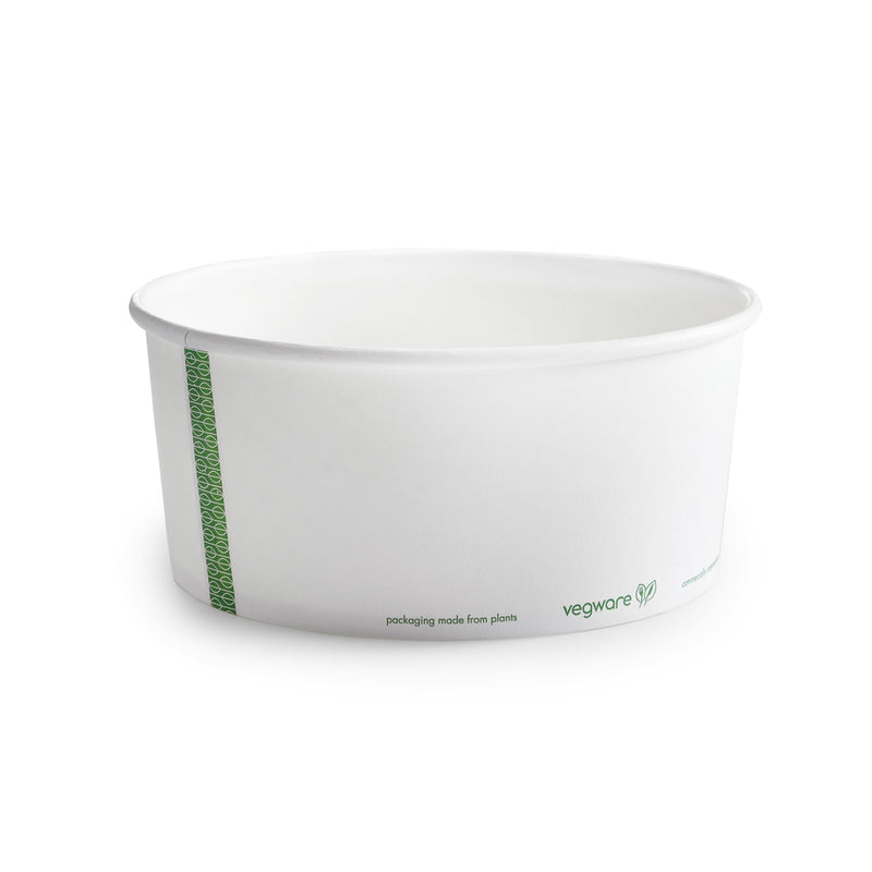 48oz (1420ml) PLA-lined paper bowl - hot food - 185 series - white