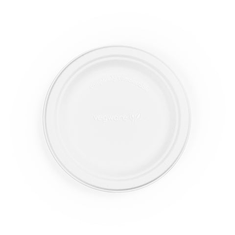 6in bagasse plate - white