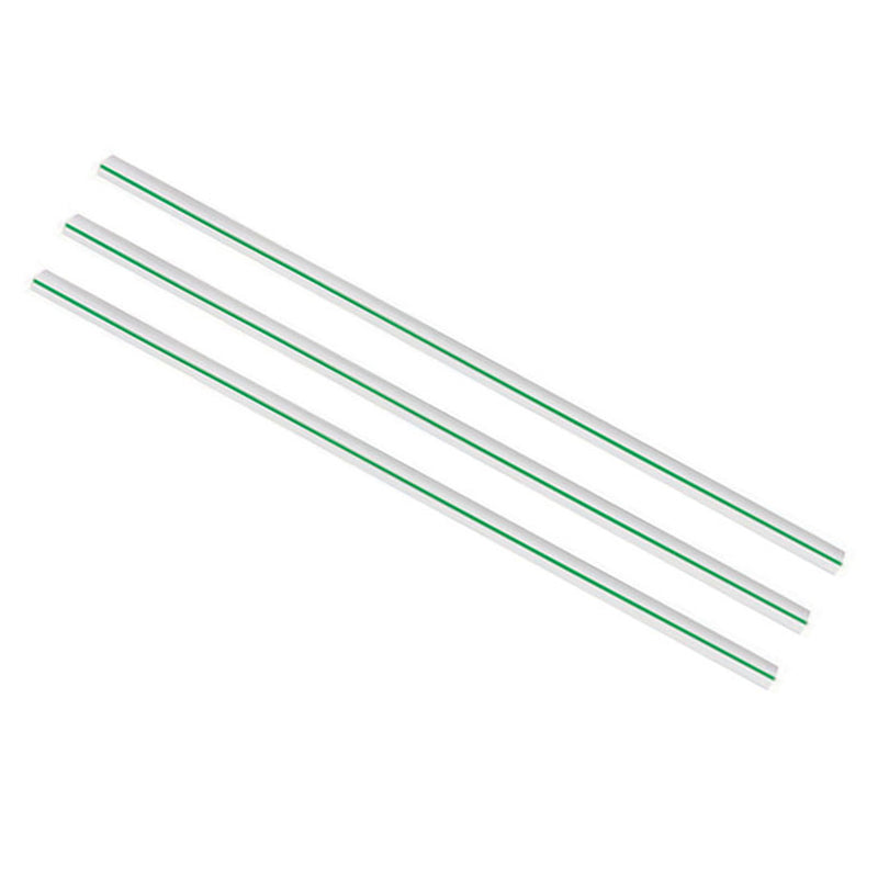Regular 7 x 210mm clear PLA green stripe straw