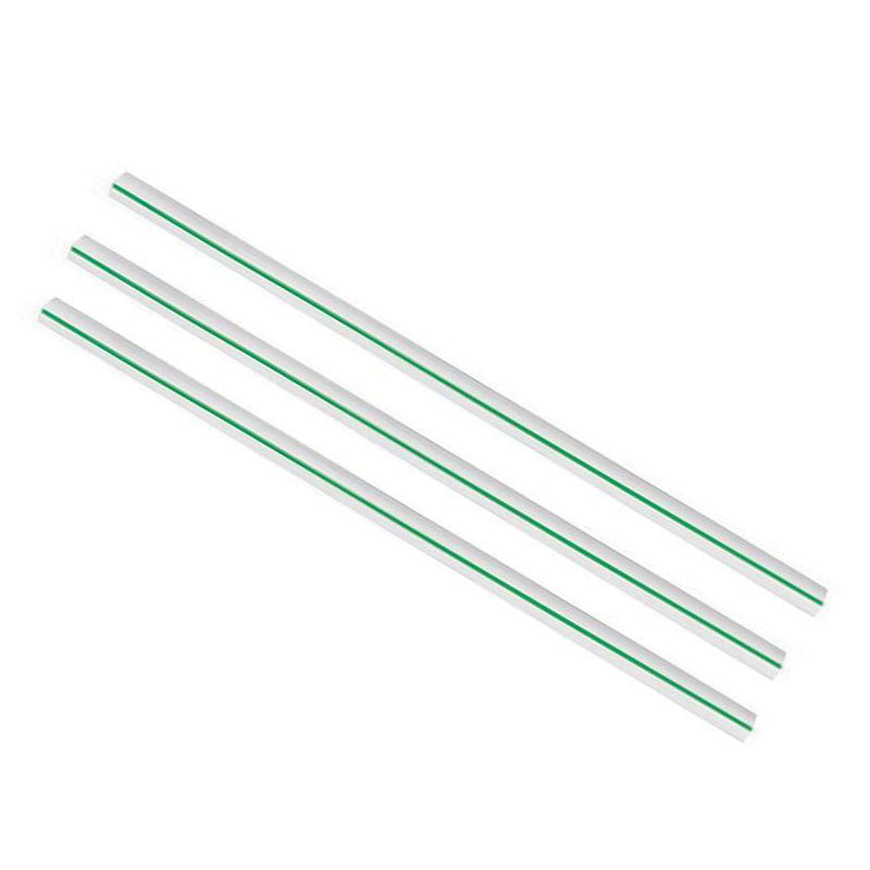 Jumbo 10 x 210mm clear PLA green stripe straw