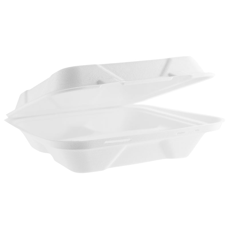9in (3 compartment) bagasse lunch box - white