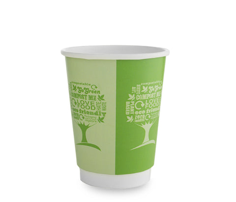 12oz double wall green tree hot cup, large lid