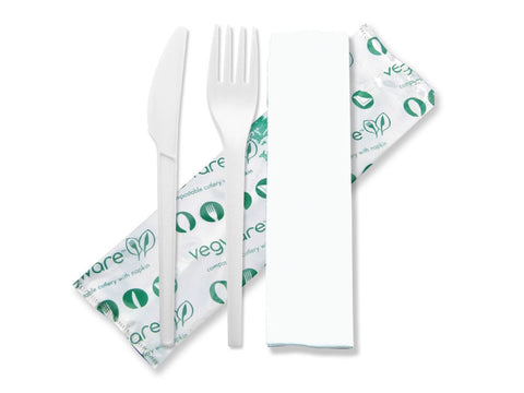 Cutlery (6.5in knife, fork, napkin in bio bag) - white