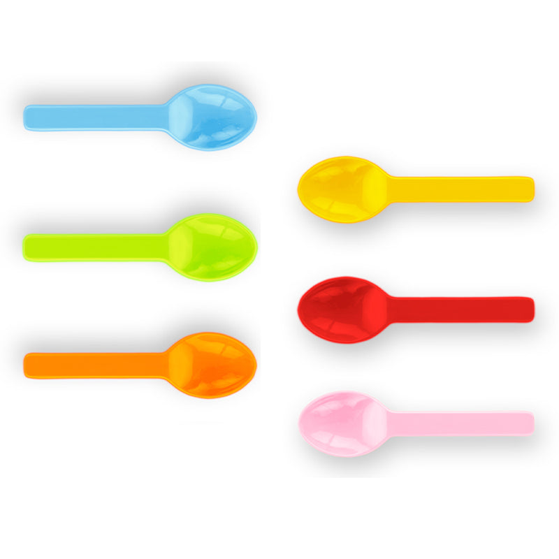 8cm PLA compostable ice cream spoons - 6 mixed colours