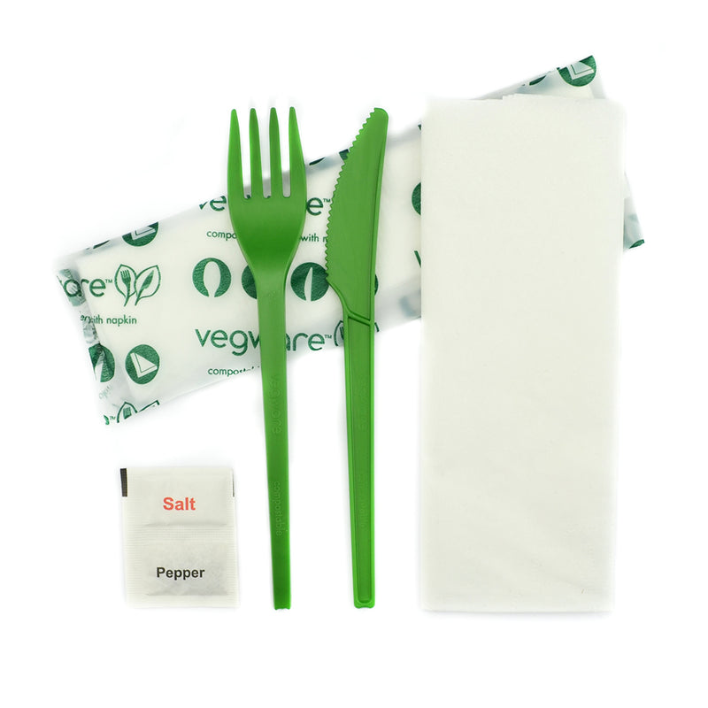 Green Cutlery Set - Knife, Fork, Napkin 16cm with Salt N Pepper in bio bag