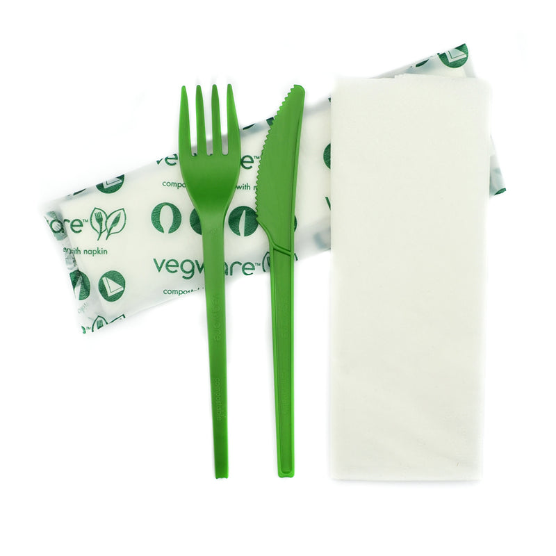 Green Cutlery Set - Knife, Fork, Napkin 16cm in bio bag