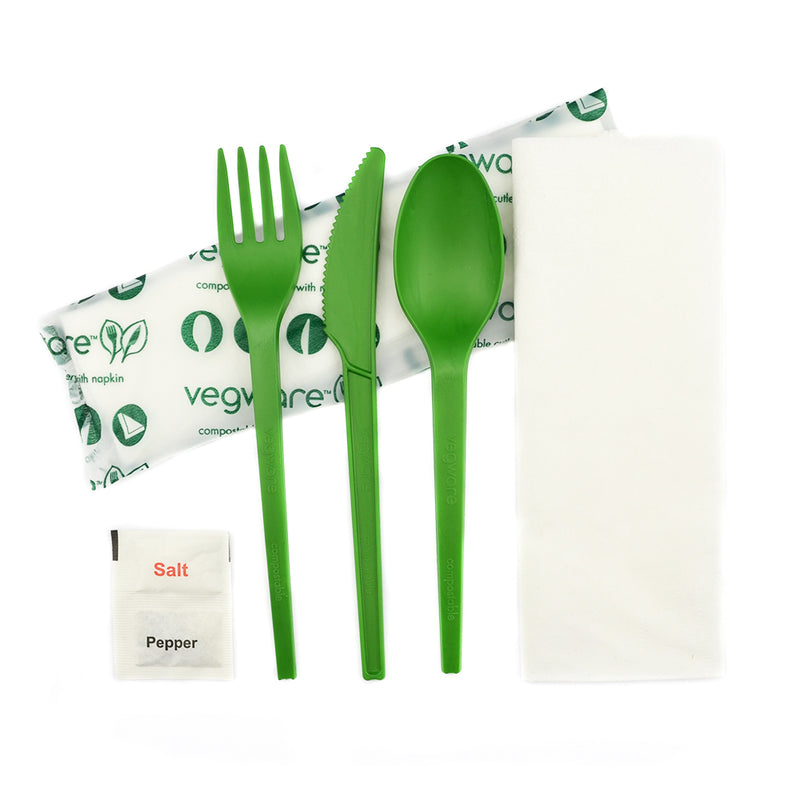 Green Cutlery Set - Knife, Fork, Spoon, Napkin 16cm with Salt N Pepper in bio bag