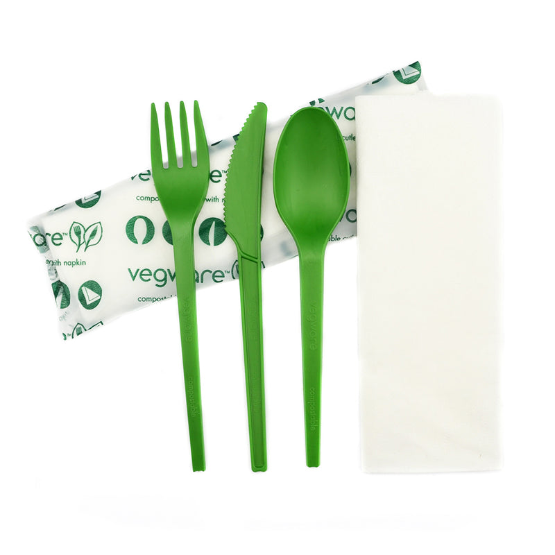 Green Cutlery Set - Knife, Fork, Spoon, Napkin 16cm in bio bag
