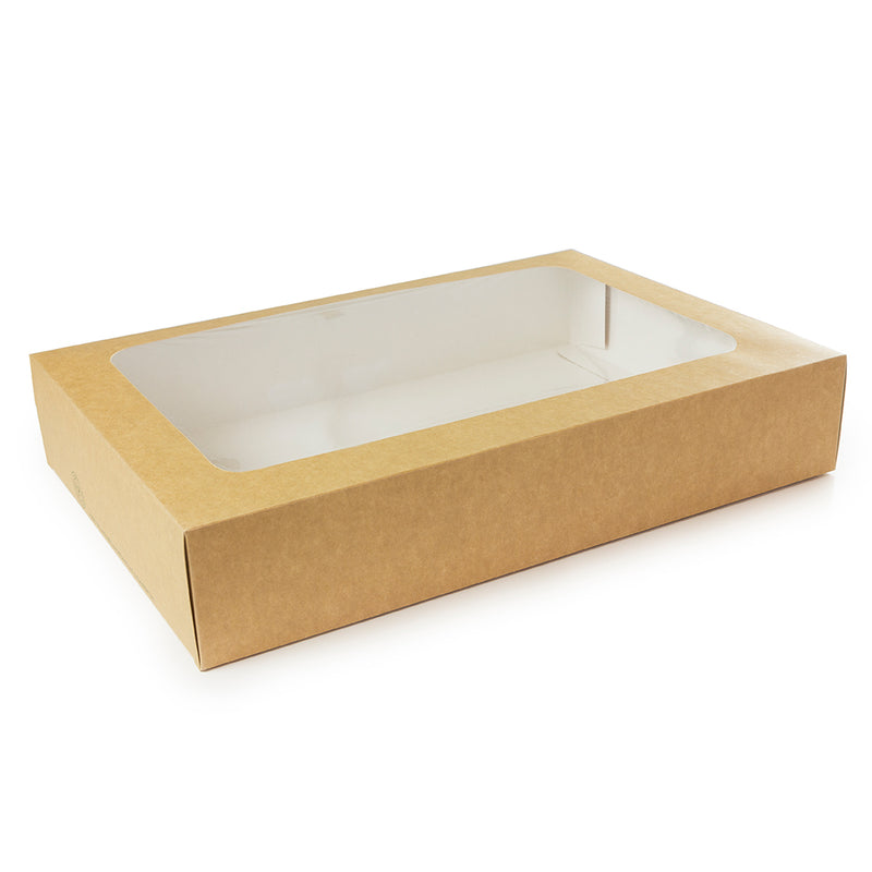 Large platter box with sliding insert - kraft
