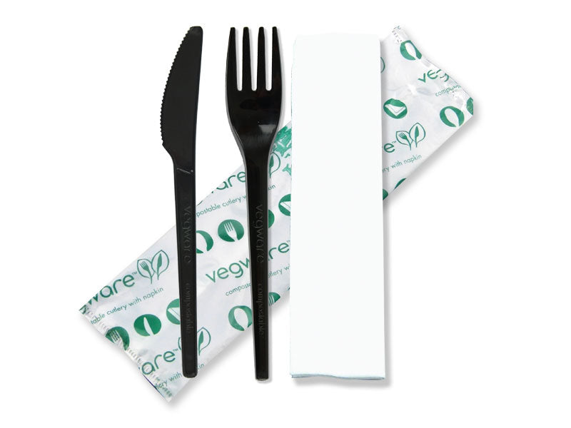 Cutlery (6.5in knife, fork, spoon, napkin in bio bag)-black