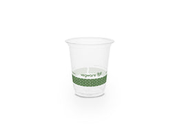 7oz (200ml) slim PLA cold cup - clear/green leaf - 76 series