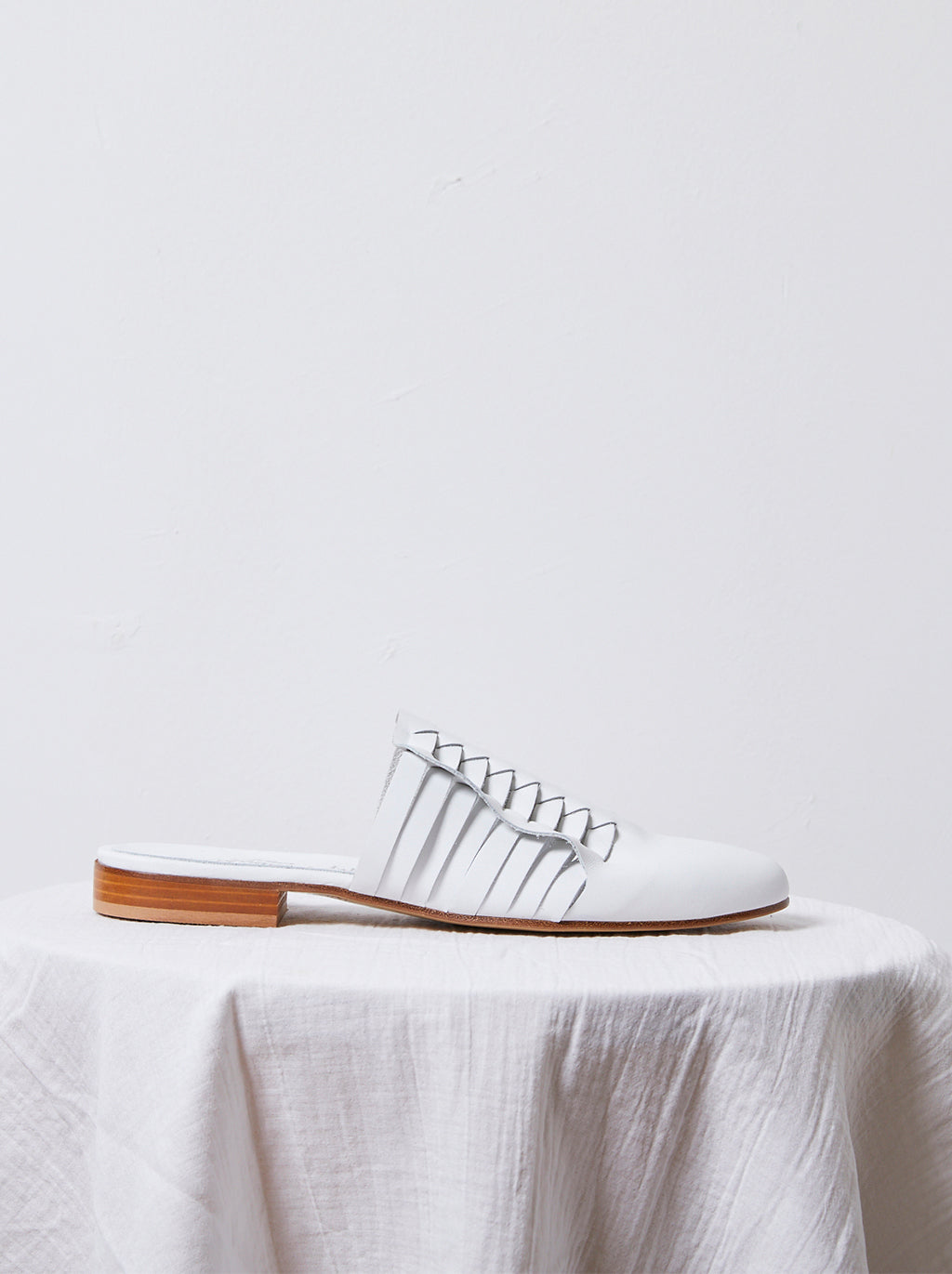 Leather Woven Slides in White