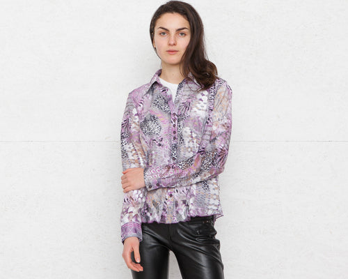 Vintage Purple Transparent Blouse Shirt/ Size GB 12 or Medium