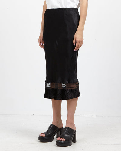 Vintage Women's Black GINA Midi Satin Skirt/ Size M