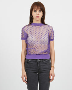 Vintage Women's Purple Transparent See Through Short Sleeve Top/ Size M