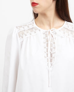 Vintage Women's White Long Sleeve Blouse Top/ size M