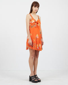 Vintage Women's Orange Sleeveless Floral Mini Dress/ Size M