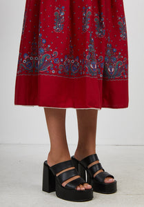 Vintage Women's Red Blue Floral Midi Skirt/ Size M