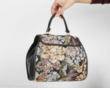 Load image into Gallery viewer, Vintage Women's Black Brown Leather Floral Handbag Purse