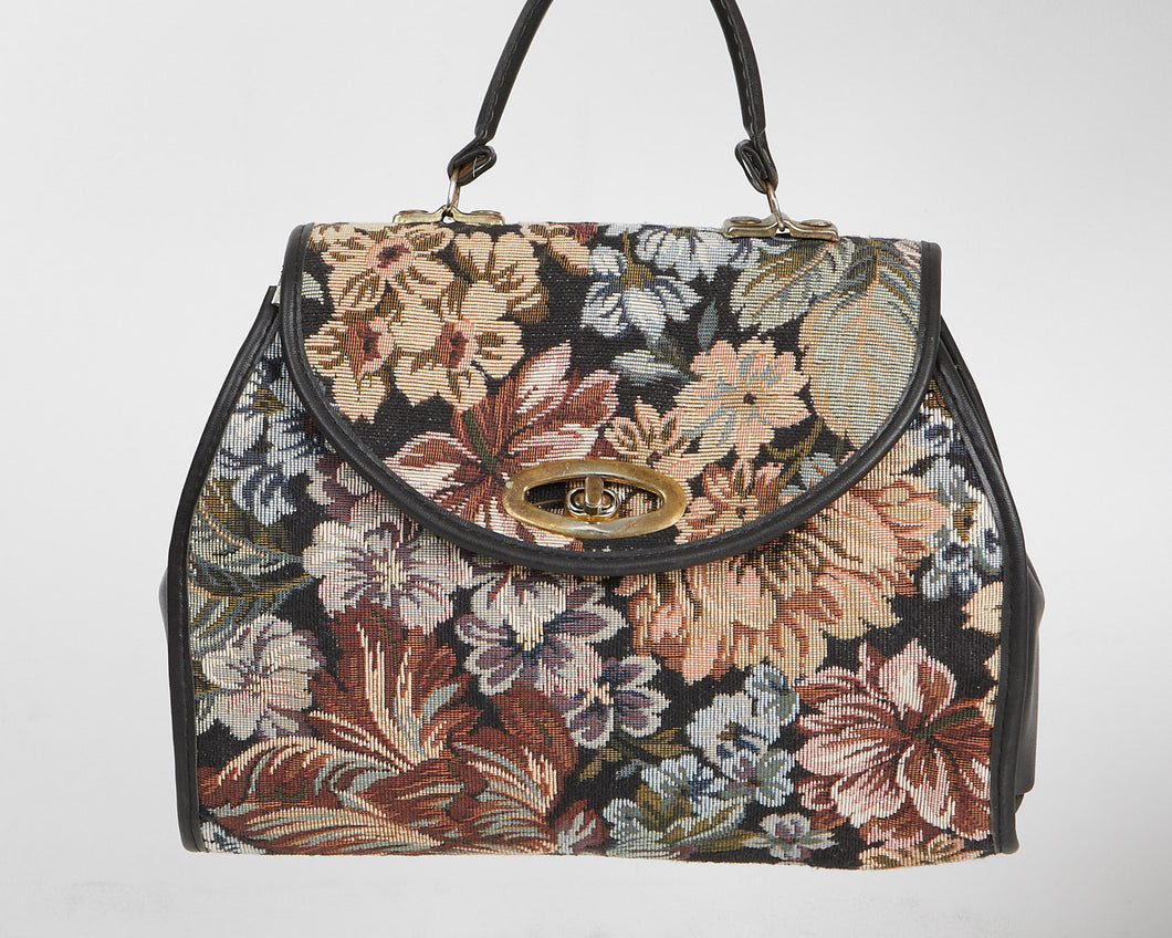 Vintage Women's Black Brown Leather Floral Handbag Purse