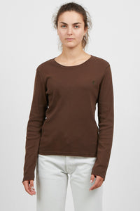 Vintage Women's Brown RALPH LAUREN Round Neck Long Sleeve Top/ Size L