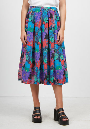 Vintage Women's Blue Purple Red Floral Midi Skirt/ Size M