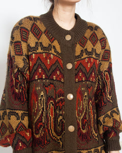 Vintage Brown Knit Button Closure Cardigan/ Size 44
