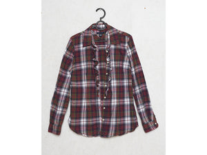 Vintage Checkered Shirt Blouse/ Size Medium