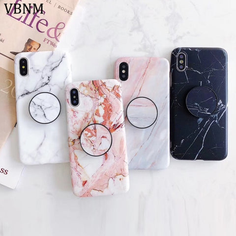 iPhone Marble Design Case with matching Phone Holder
