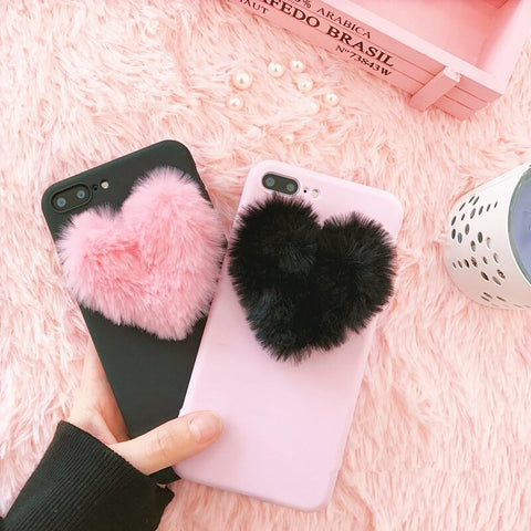 iPhone Fluffy Heart Shape 3D Case