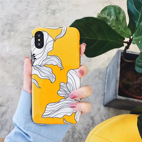 Yellow Gloss Floral iPhone Case