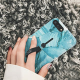 Aqua Marble Texture iPhone Case with Thumb Grip