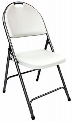 Surprising White Folding Chair With Durable Powder Coated Steel Frame Ch1742 Machost Co Dining Chair Design Ideas Machostcouk