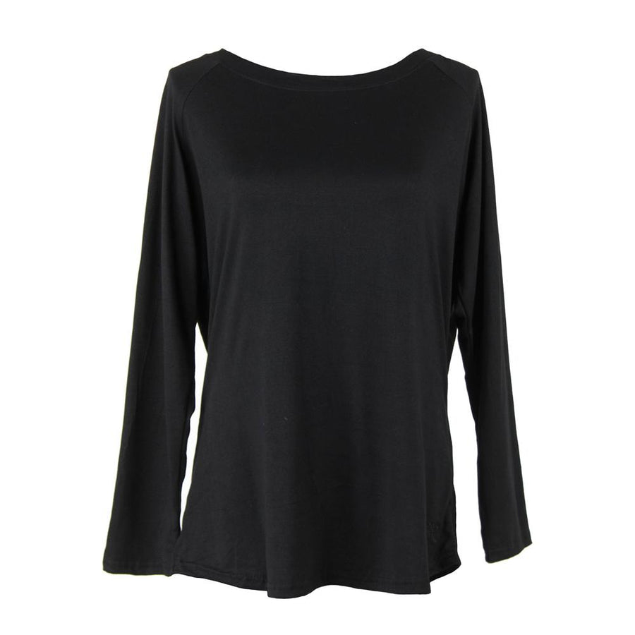 solid black long sleeve pajama top from hello mello total bliss, twilight