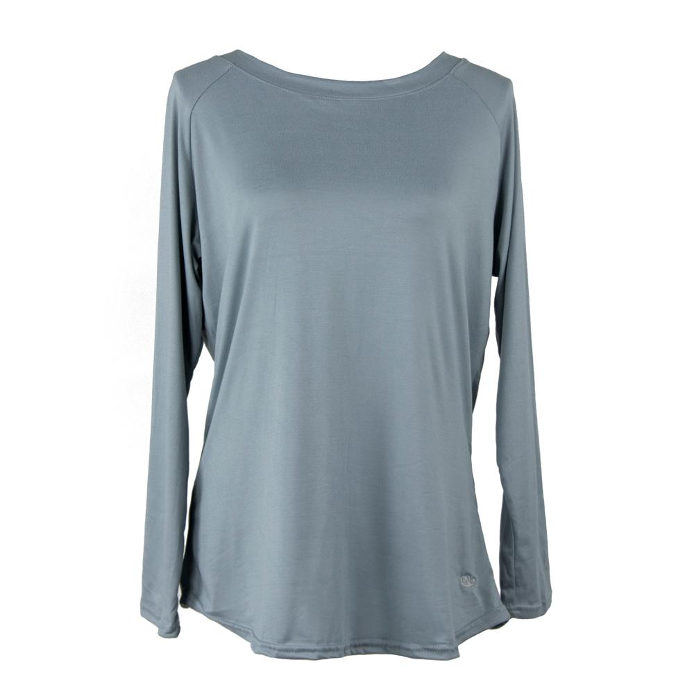 total bliss morning fog long sleeve top from hello mello, solid gray, grey