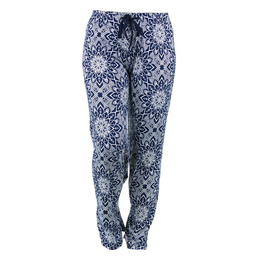 plus size hello mello total bliss rising lotus pajama bottoms, mandala, blue print