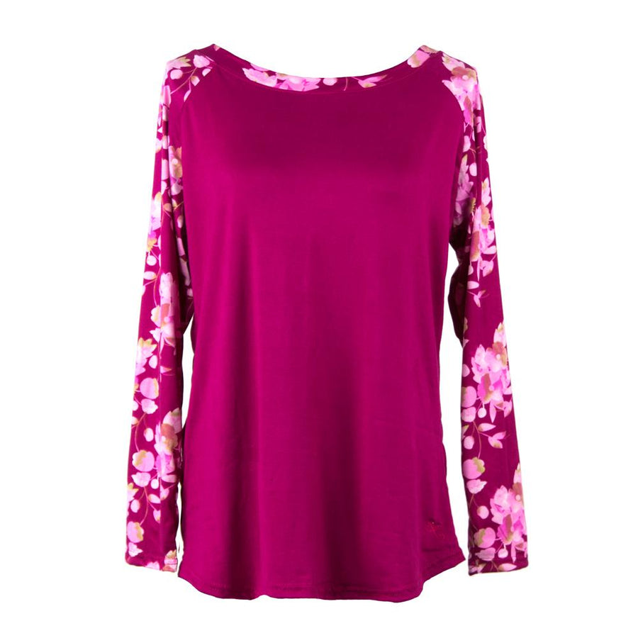 pajama top from hello mello total bliss, cherry blossom, pink floral lounge top